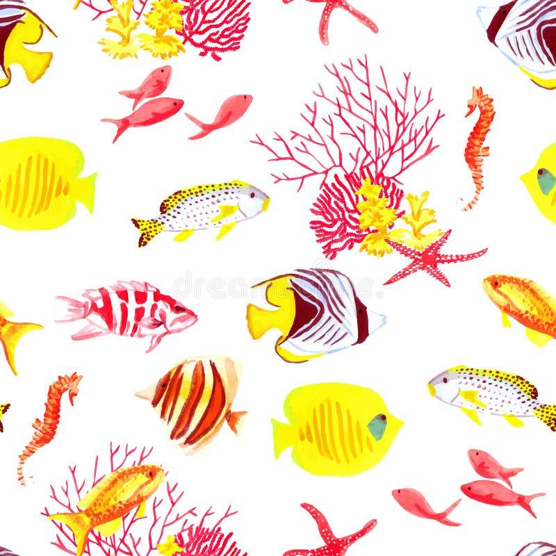 Teste padrão sem emenda brilhante do vetor dos peixes e das algas ilustração royalty free