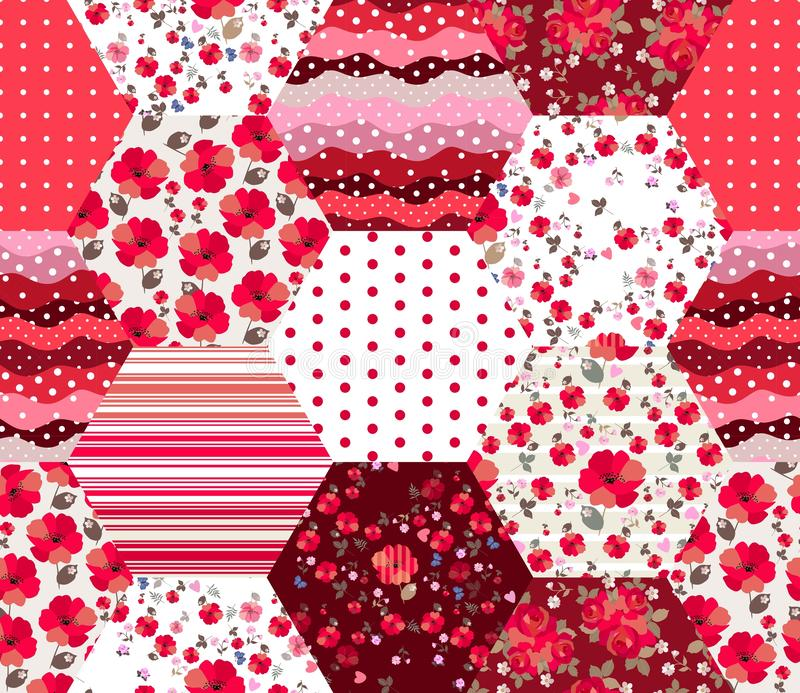 Teste padrão sem emenda brilhante dos retalhos em cores vermelhas Remendos com o ornamento floral e geométrico Projeto na moda da ilustração royalty free