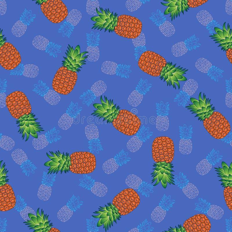 Teste padrão sem emenda brilhante em um fundo azul, vetor do abacaxi ilustração royalty free