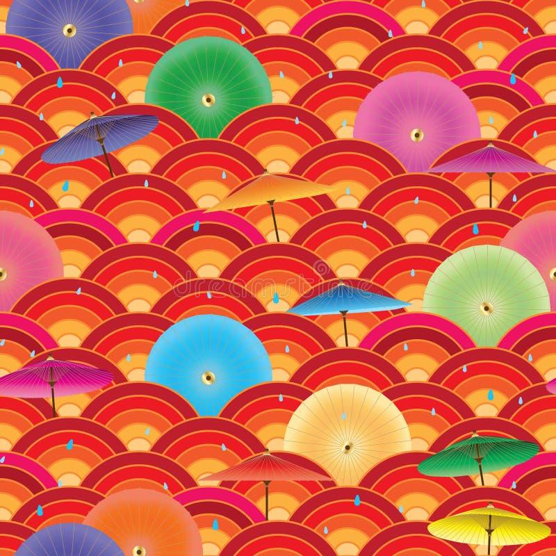 Teste padrão sem emenda círculo japonês do guarda-chuva do meio ilustração royalty free