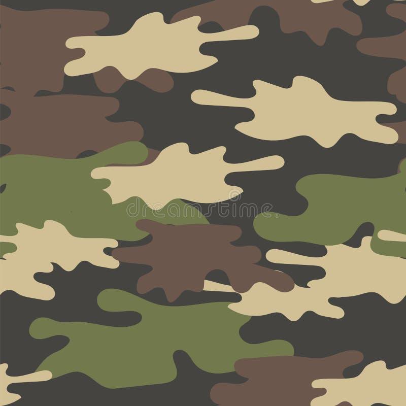 Teste padrão sem emenda camuflar As forças armadas repetem a textura do exército Brown verde Olive Colors Forest Background ilustração royalty free