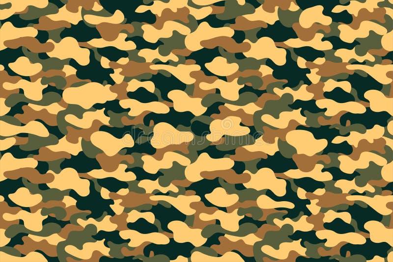 Teste padrão sem emenda camuflar Fundo militar da textura da roupa com folha amarela, verde e marrom ilustração stock