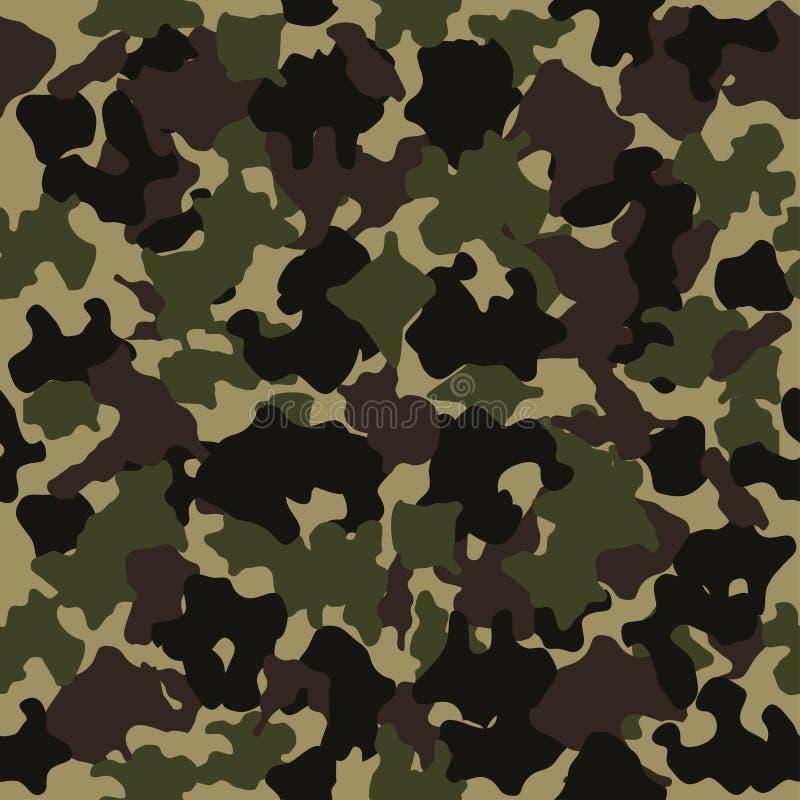 Teste padrão sem emenda camuflar Projeto da forma para mascarar, estilo militar Verde, marrom, preto, a azeitona colore o fundo V ilustração stock