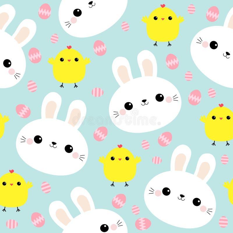 Teste padrão sem emenda Cara branca do coelho do coelho Galinha, ovo da páscoa Caráter de sorriso engraçado do bebê do kawaii bon ilustração do vetor