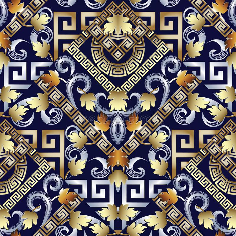 Teste padrão sem emenda chave grego floral Fundo azul do vetor com g ilustração royalty free