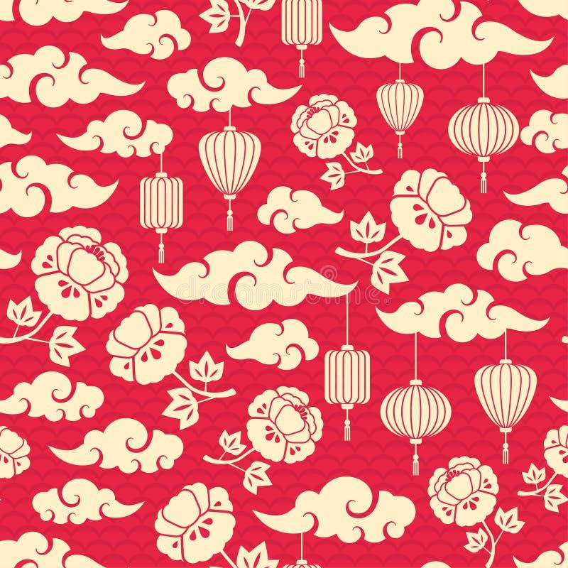 Teste padrão sem emenda chinês com nuvens ilustração stock