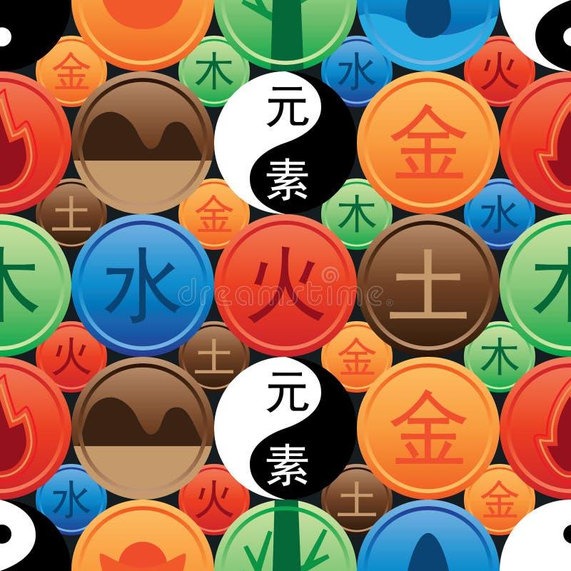Teste padrão sem emenda chinês dos elementos do chinês cinco ilustração royalty free