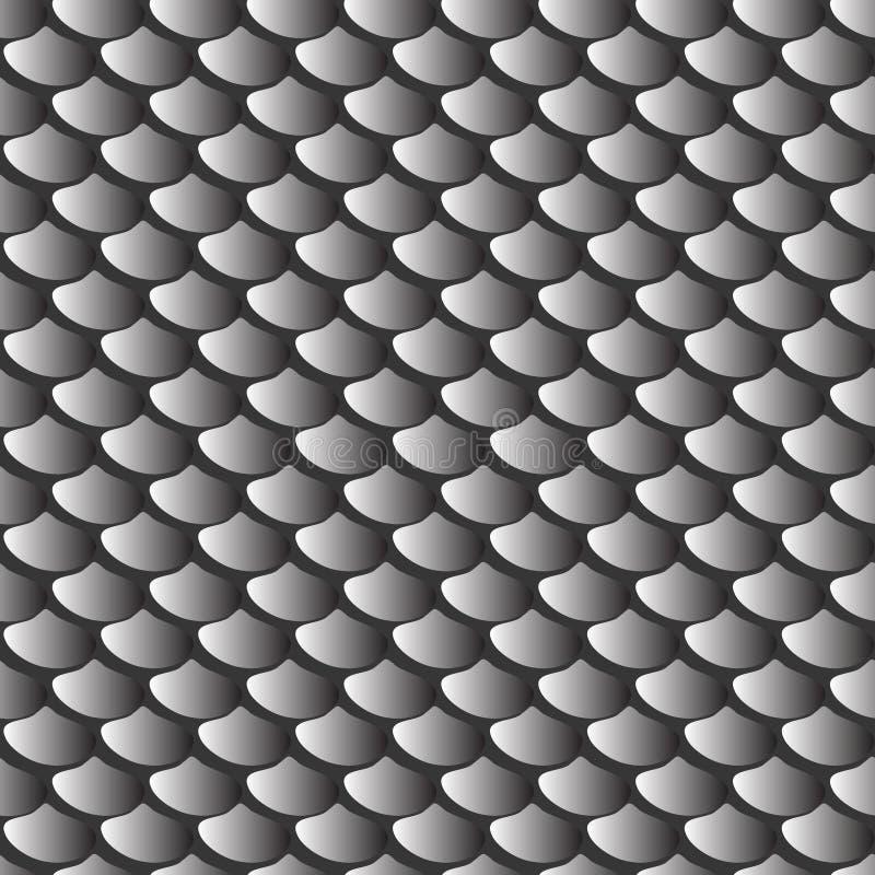 Teste padrão sem emenda cinzento das escalas de peixes da textura ilustração do vetor