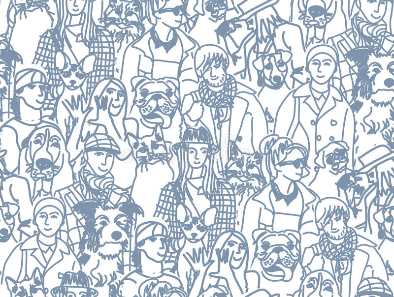 Teste padrão sem emenda cinzento grande dos povos e dos animais de estimação do grupo ilustração stock