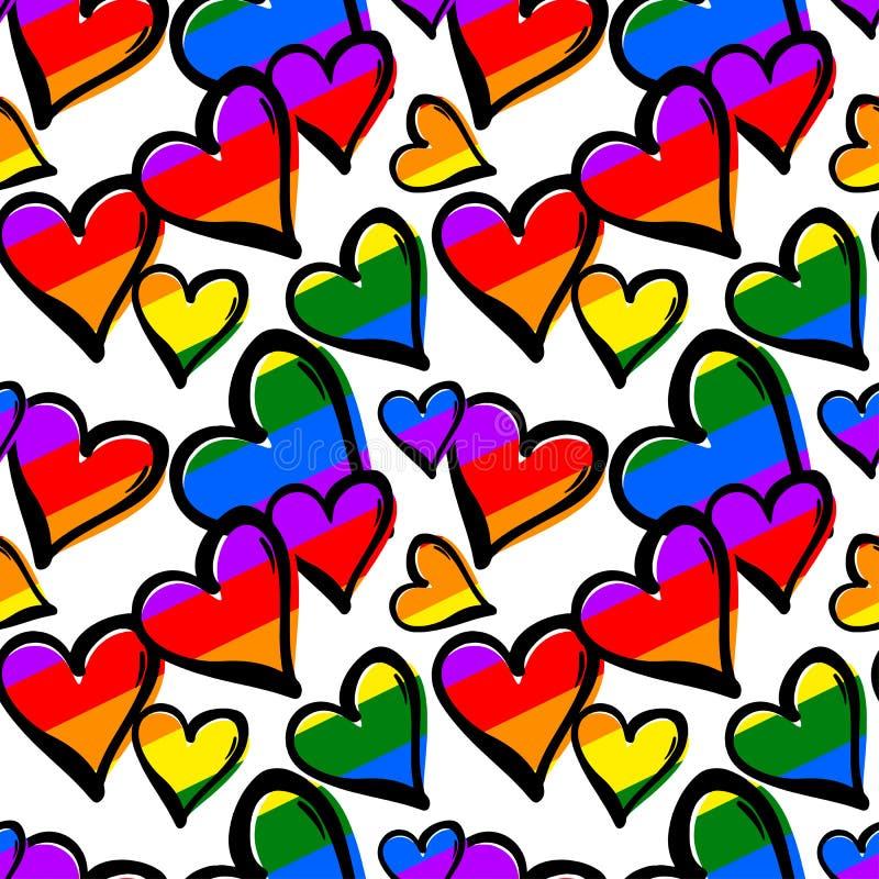 Teste padrão sem emenda colorido arco-íris dos corações do orgulho alegre ilustração do vetor