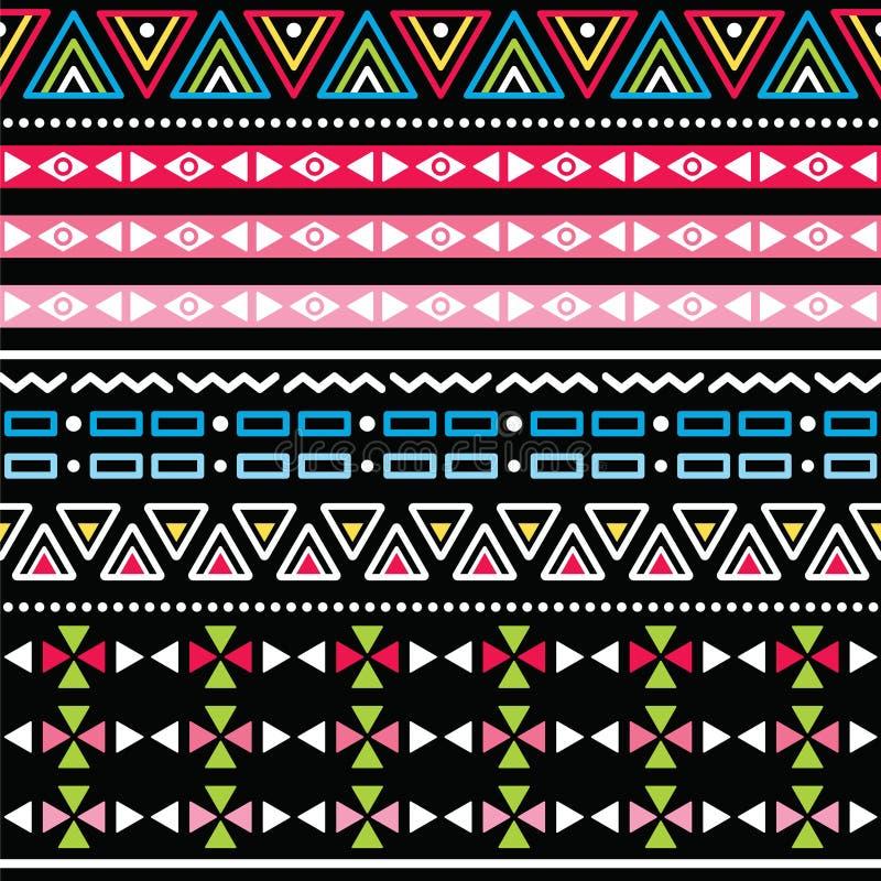 Teste padrão sem emenda colorido asteca tribal ilustração royalty free
