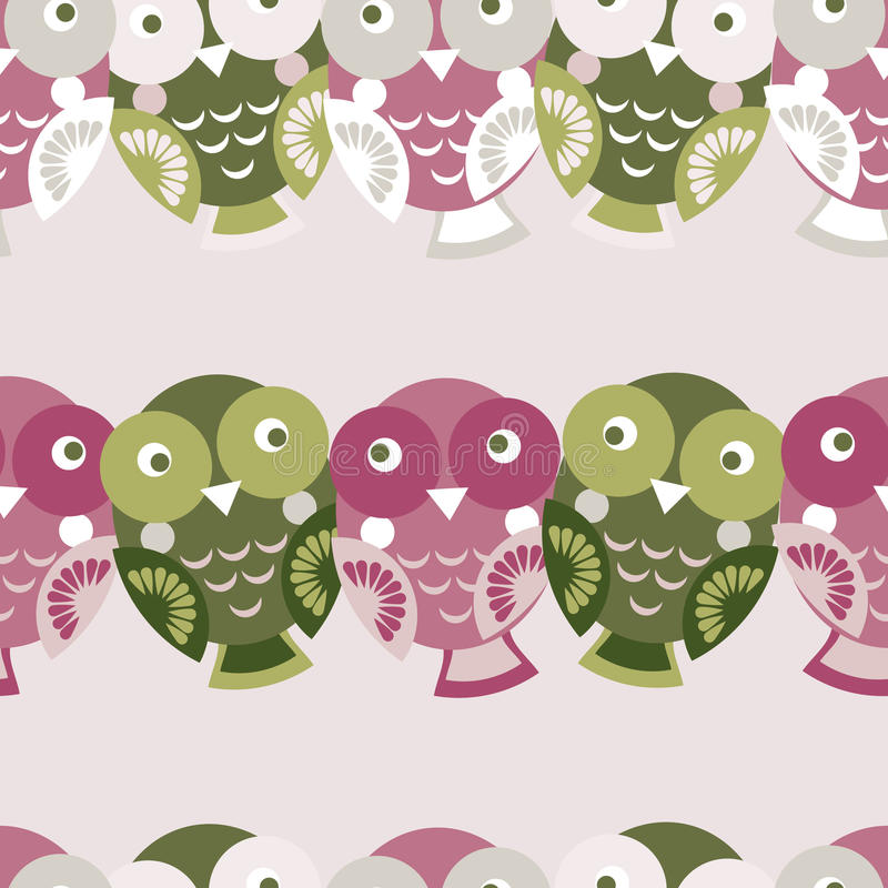 Teste padrão sem emenda colorido bonito com coruja CCB verde, cor-de-rosa, roxo ilustração do vetor