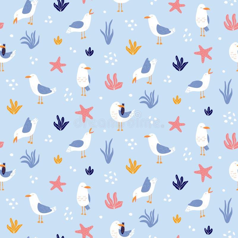Teste padrão sem emenda colorido com as gaivotas no vetor ilustração do vetor