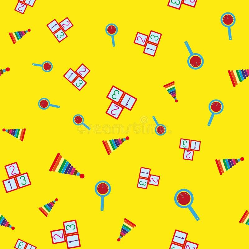 Teste padrão sem emenda colorido com brinquedos das crianças Pirâmides repetitivas, chocalhos, cubos com números ilustração do vetor