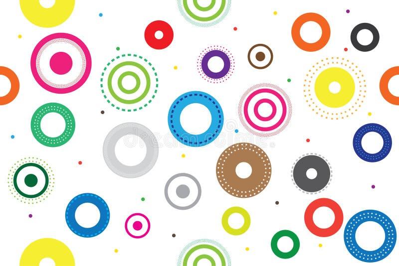 Teste padrão sem emenda colorido com círculos , Grupo de projeto redondo do símbolo do ícone ilustração stock