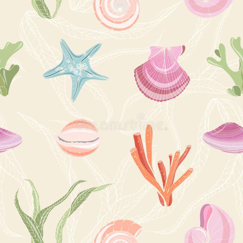 Teste padrão sem emenda colorido com conchas do mar, estrela do mar, moluscos, corais e alga no fundo claro Contexto com mar ilustração do vetor