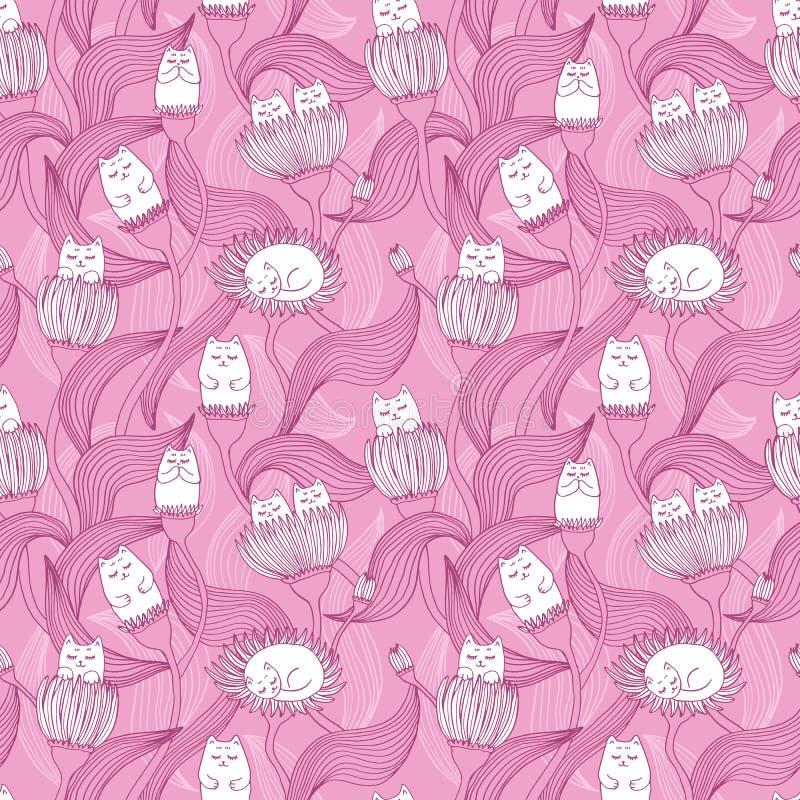 Teste padrão sem emenda colorido com gatos e flores Desenho acolhedor para crianças Decoração para a sala dos kid's ilustração stock