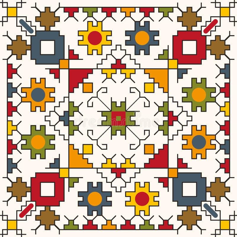 Teste padrão sem emenda colorido com motivos tradicionais ilustração royalty free