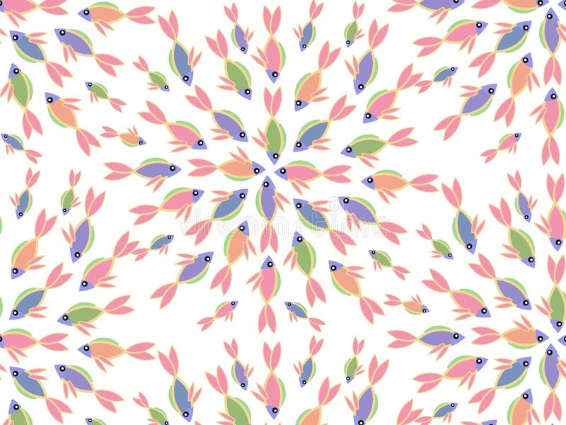 Teste padrão sem emenda colorido com peixes ilustração royalty free