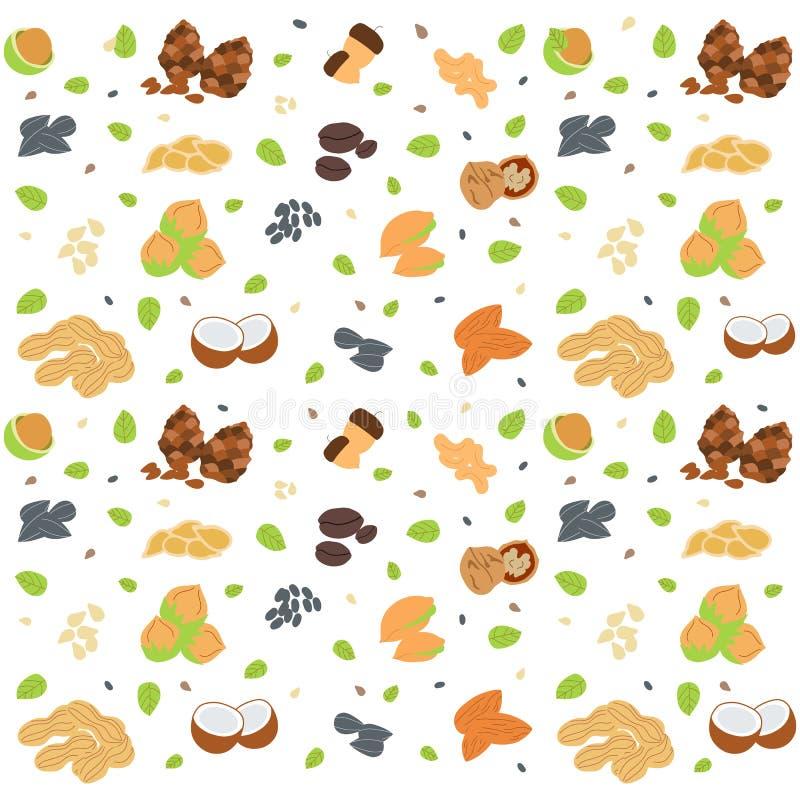 Teste padrão sem emenda colorido com porcas e as sementes diferentes ilustração stock