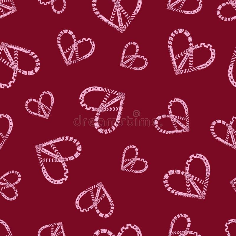 Teste padrão sem emenda colorido com símbolo do coração da paz da hippie no estilo do zentangle ilustração stock