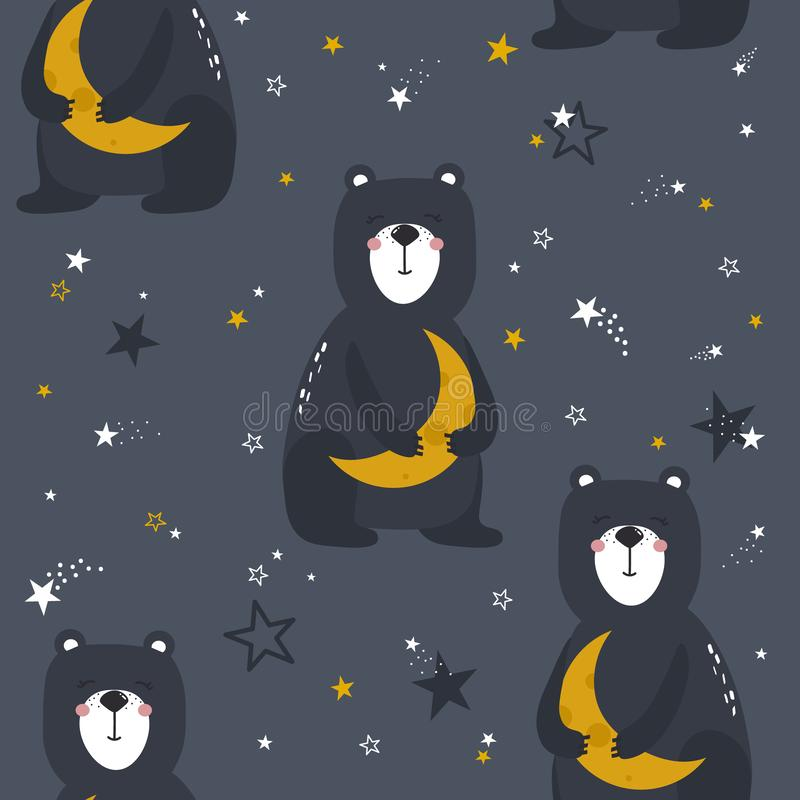 Teste padrão sem emenda colorido com ursos felizes, lua, estrelas Fundo bonito decorativo com animais, céu noturno ilustração do vetor