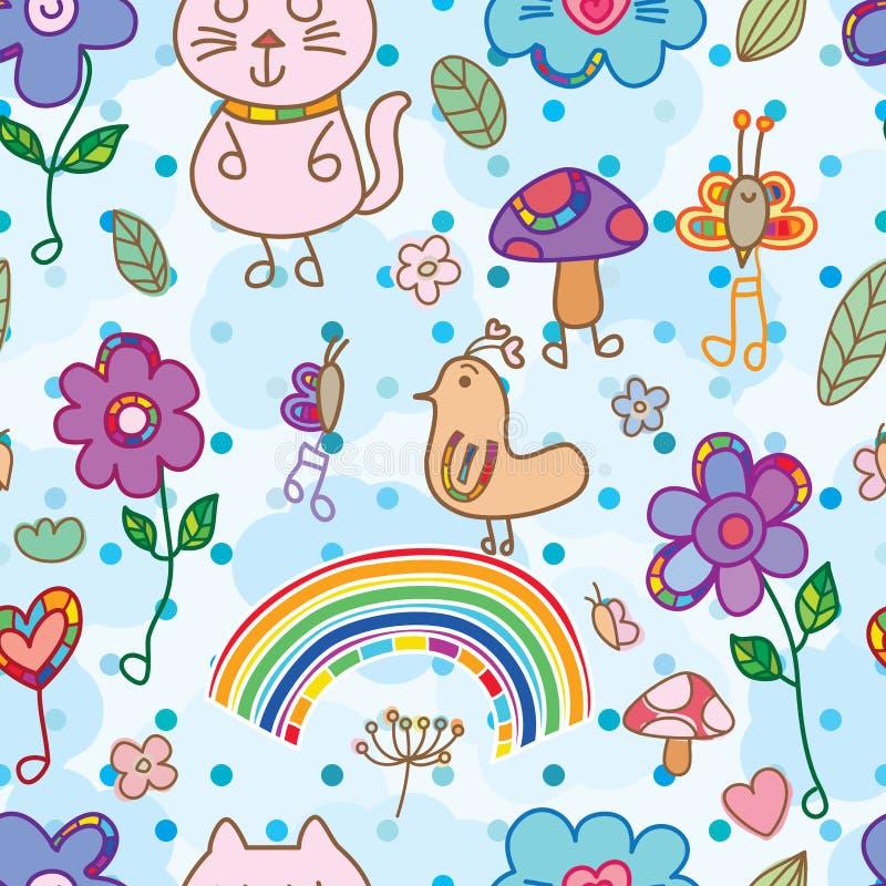 Teste padrão sem emenda colorido da música natural da flor do pássaro do gato ilustração royalty free