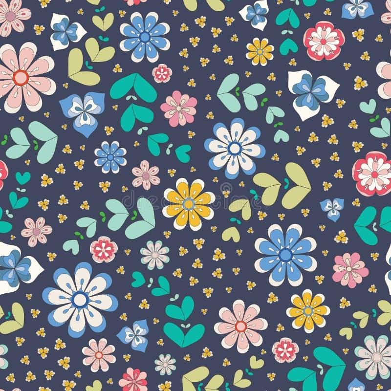 Teste padrão sem emenda colorido da repetição de flores e das folhas estilizados esboçadas Um projeto floral bonito do vetor em p ilustração stock