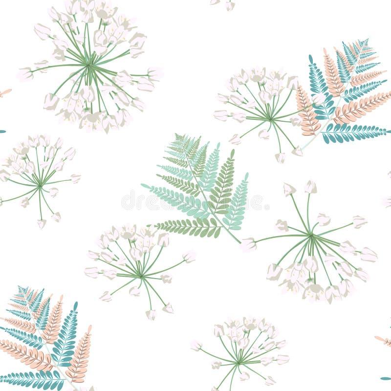 Teste padrão sem emenda colorido das folhas tropicais da samambaia A planta de Bush deixa a decoração no fundo branco ilustração do vetor