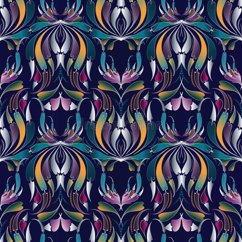 Teste padrão sem emenda colorido de Paisley Fundo azul floral Luxur ilustração stock