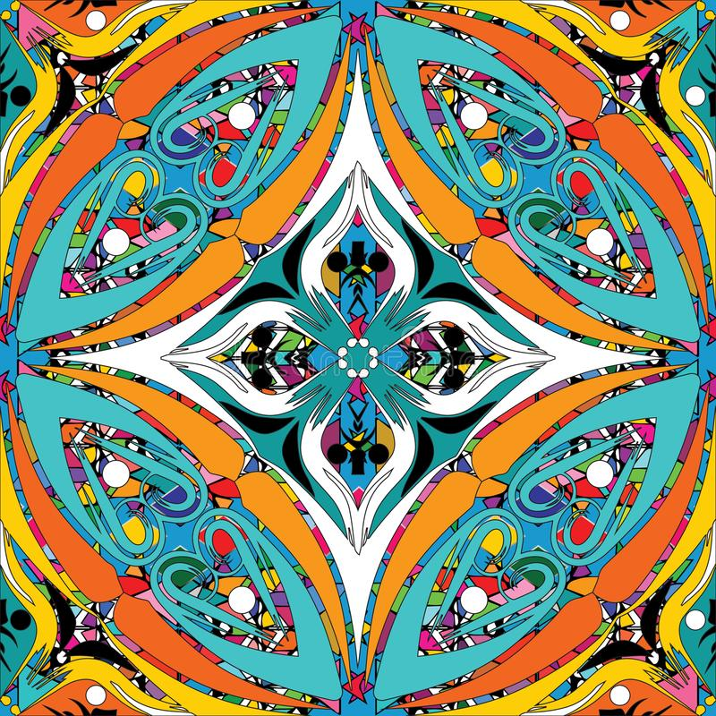 Teste padrão sem emenda colorido do estilo étnico floral Ornamental do vetor ilustração do vetor