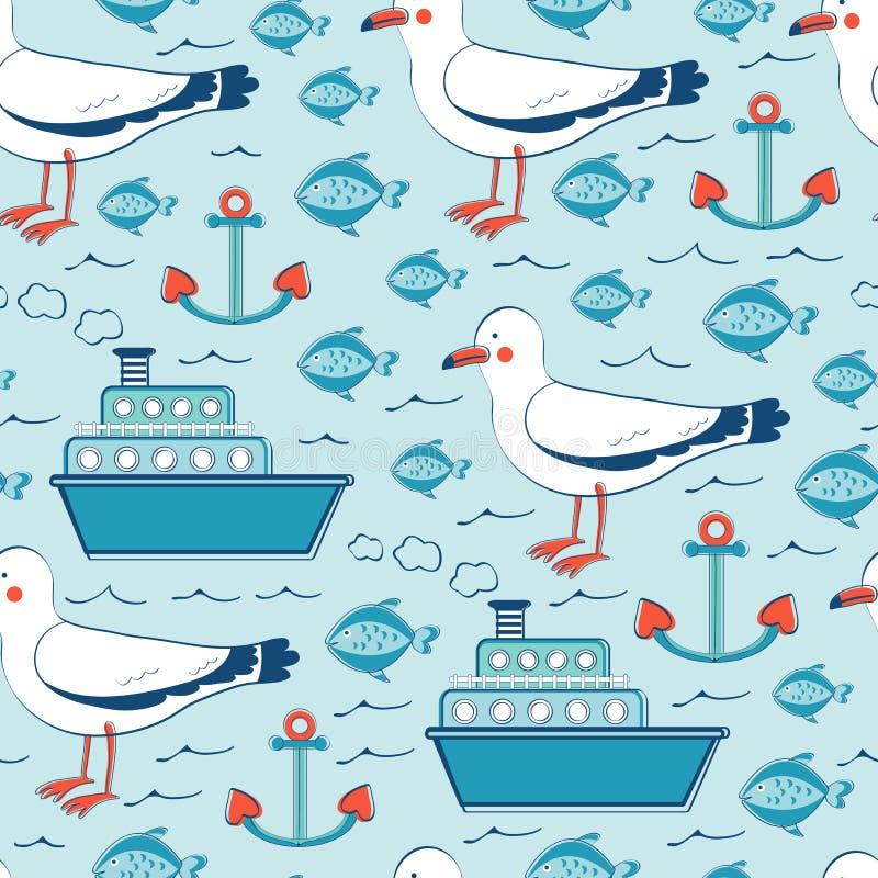 Teste padrão sem emenda colorido do mar com gaivotas ilustração stock