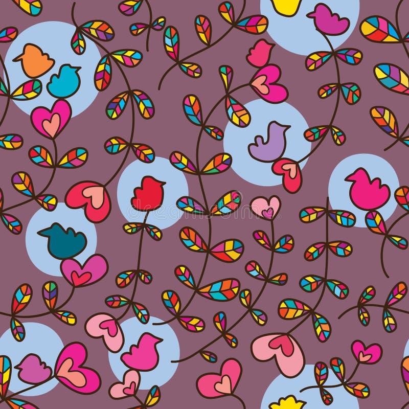 Teste padrão sem emenda colorido do pássaro da planta do amor ilustração royalty free