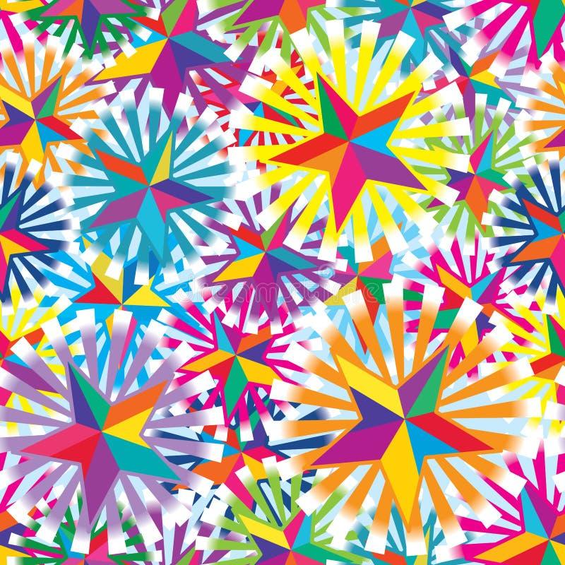 Teste padrão sem emenda colorido do raio colorido da estrela ilustração royalty free