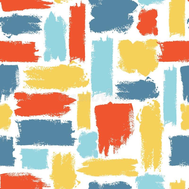 Teste padrão sem emenda colorido do vetor com cursos da escova Fantasia do verão Cor do arco-íris no fundo branco Pintado à mão ilustração stock
