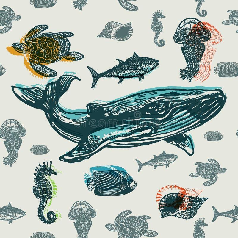 Teste padrão sem emenda colorido dos animais de mar ilustração stock