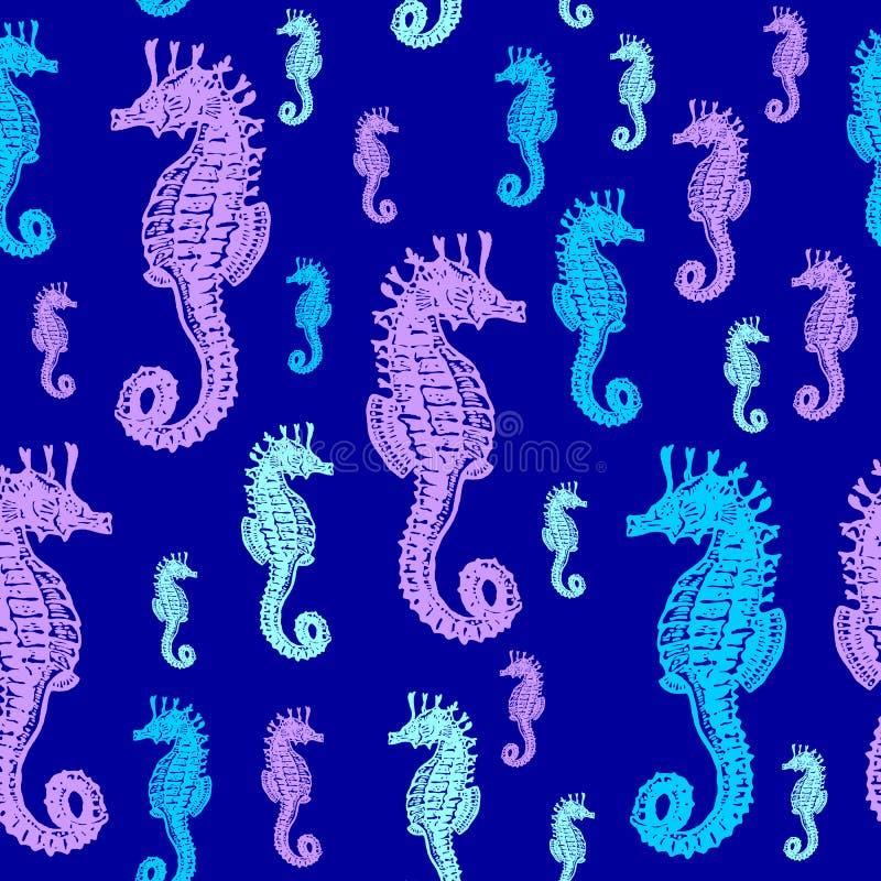 Teste padrão sem emenda colorido dos cavalos de mar ilustração do vetor