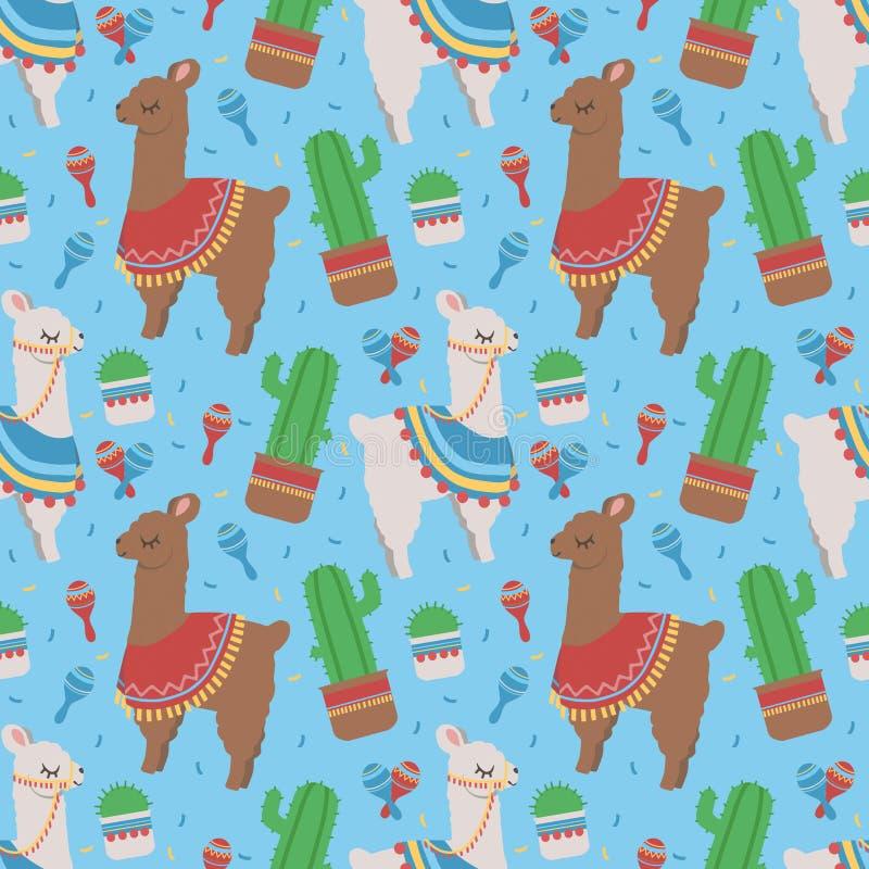 Teste padrão sem emenda colorido dos desenhos animados para crianças com as Lamas peruanas bonitos ou alpacas com ponchos e cacto ilustração stock