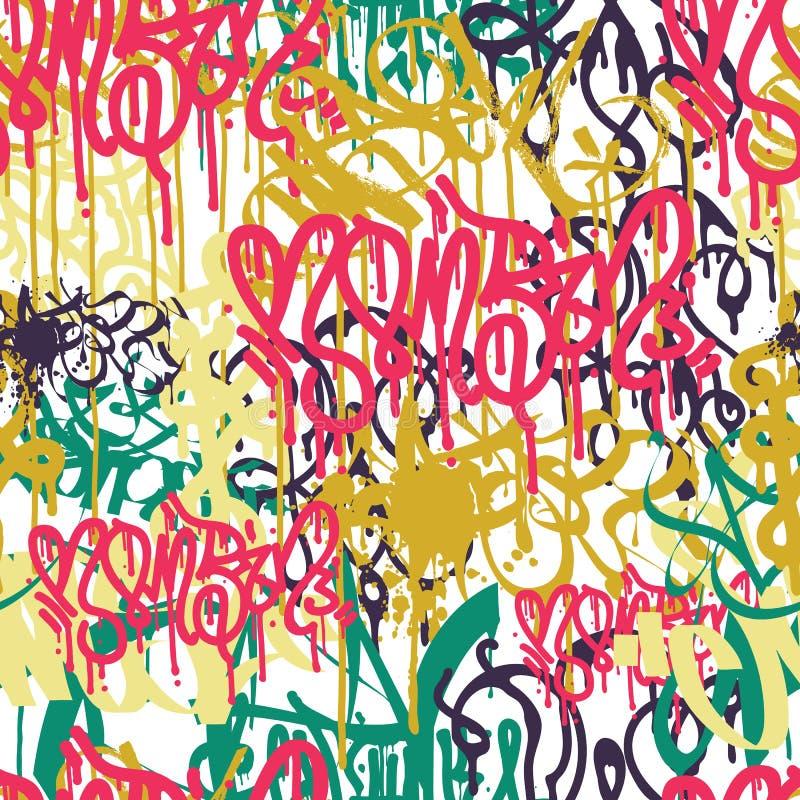 Teste padrão sem emenda colorido dos grafittis ilustração do vetor