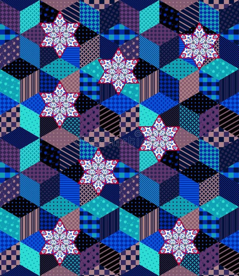 Teste padrão sem emenda colorido dos retalhos para o Natal ilustração do vetor