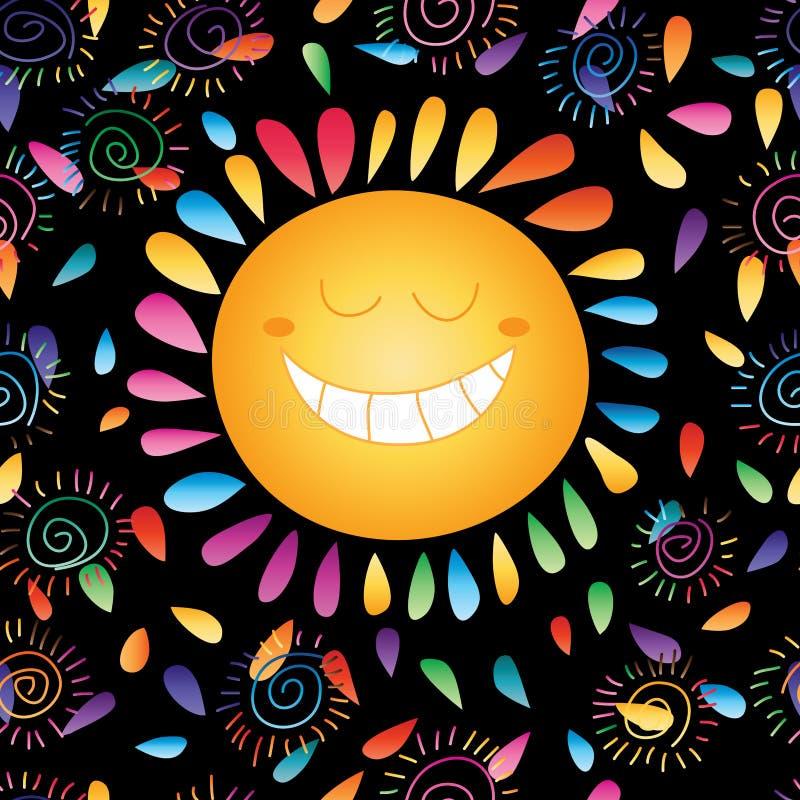 Teste padrão sem emenda colorido feliz da escuridão de Sun ilustração do vetor