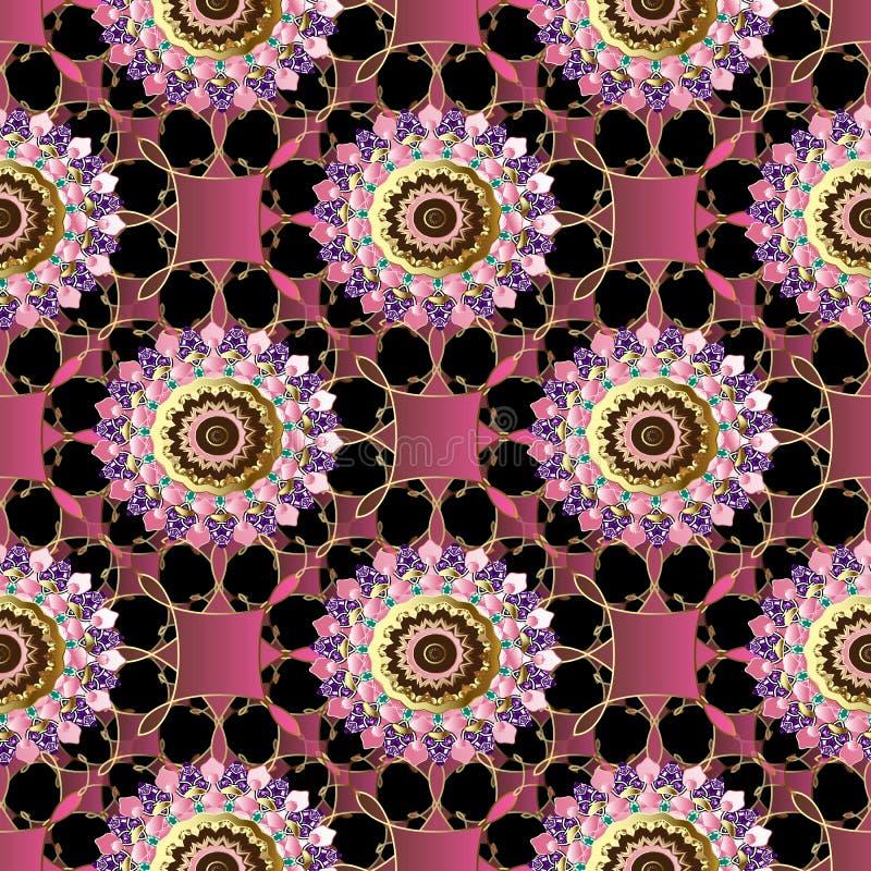 Teste padrão sem emenda colorido floral decorativo bonito do vetor 3d Fundo moderno geométrico do laço Mandala das flores do vint ilustração stock