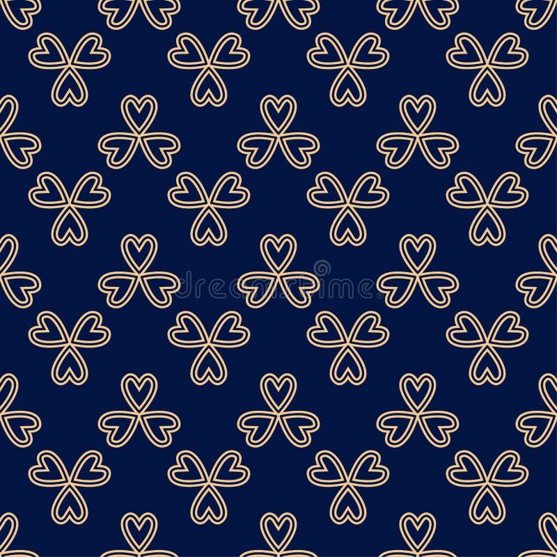 Teste padrão sem emenda colorido floral Fundo azul dourado com elementos do fower para papéis de parede ilustração royalty free