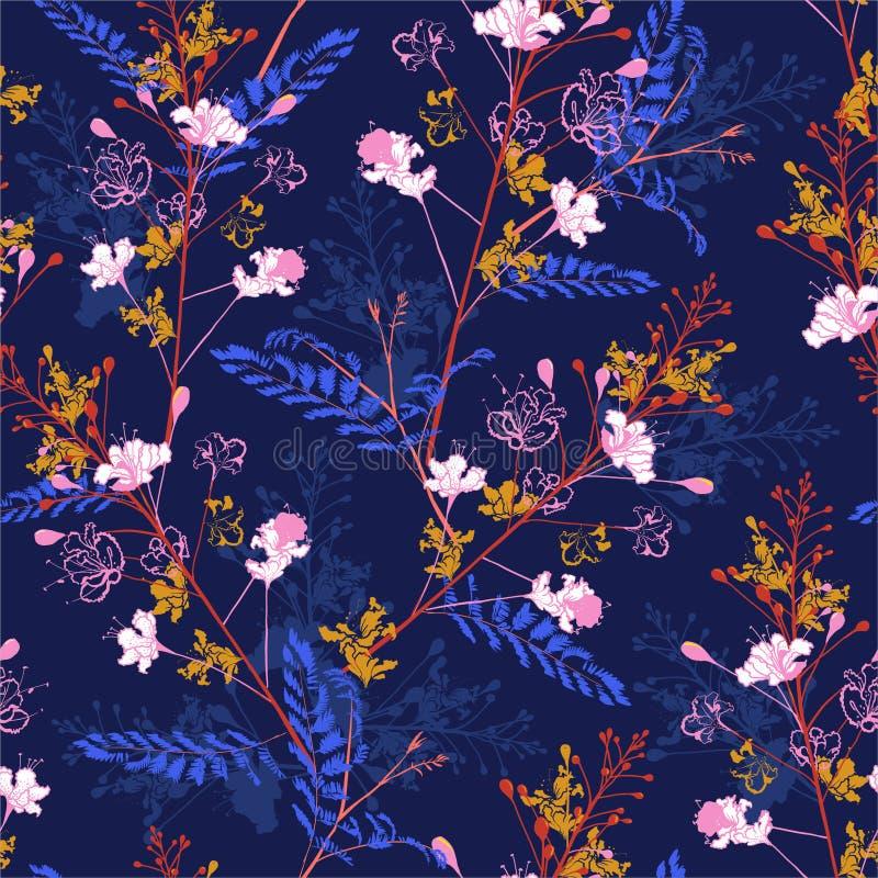 Teste padrão sem emenda colorido no vetor do pavão de florescência floral no projeto do vetor para a forma, tela, Web, wallaper,  ilustração royalty free