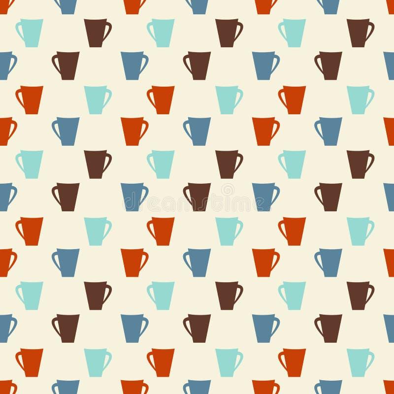 Teste padrão sem emenda colorido retro dos copos de café ilustração royalty free