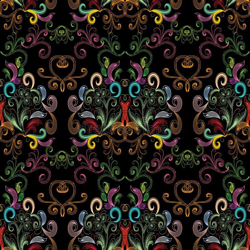 Teste padrão sem emenda colorido tirado do vintage mão floral Flo brilhante ilustração stock