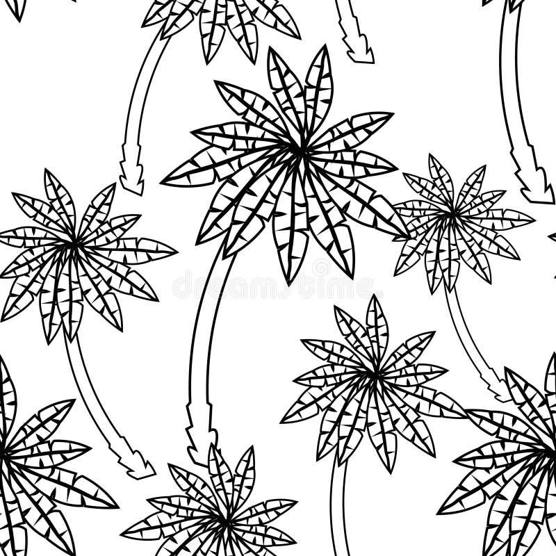Teste padrão sem emenda colorindo das palmeiras Ilustração do vetor ilustração stock