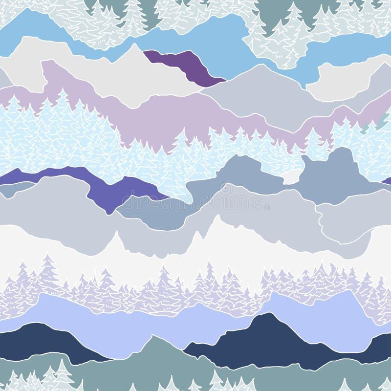 Teste padrão sem emenda com árvores e montanhas ilustração stock