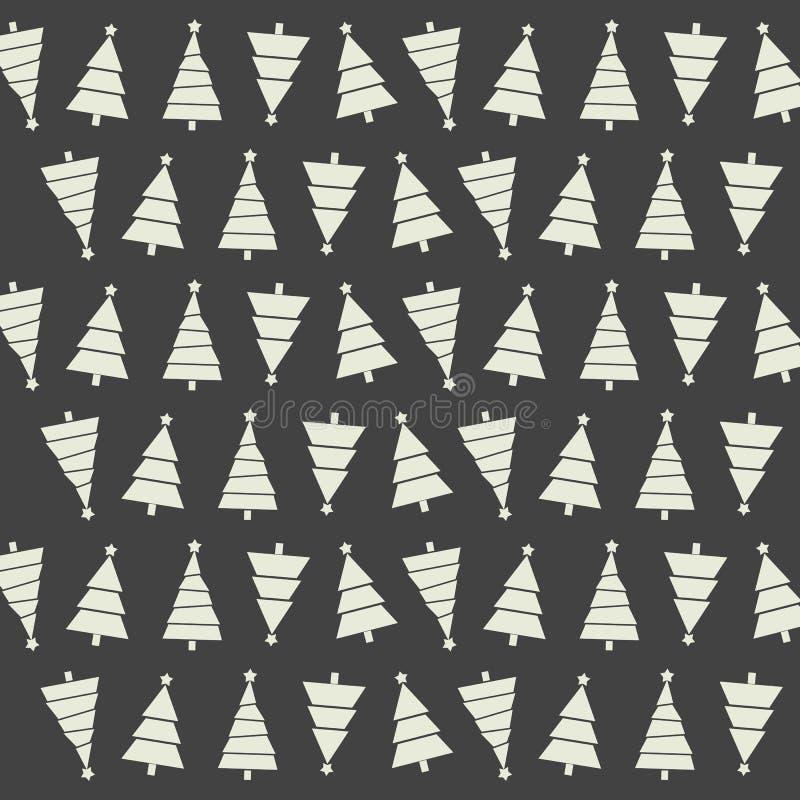 Teste padrão sem emenda com árvores e neves de Natal no backgrou escuro ilustração stock