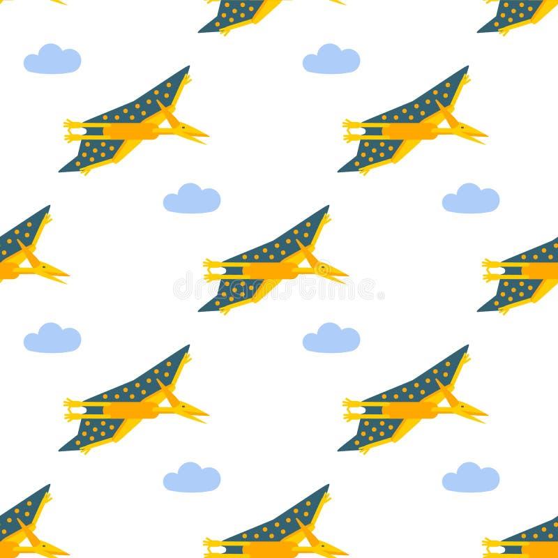 Teste padrão sem emenda com ícone liso do estilo de Pteranodon Fundo com pterosaur ilustração do vetor